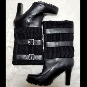 Marc Fisher Black Leather Knit Boots Size 10